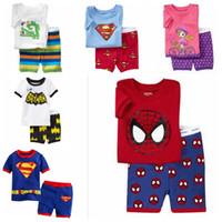 Wholesale child pyjamas - 2017 Children Pyjamas Gray Tshirt + Red Dont Short Pajamas for Boys Short Sleeve Kids Sleepwear Baby Pajama Set SP61