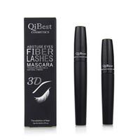 nueva máscara de pestañas de fibra 3d al por mayor-QiBest 3D Fiber Lashes Mascara Cosmetics Mascara Black Doble Mascara Set Maquillaje Lash Eyelash Waterproof Nuevo rimel 2pcs = 1set
