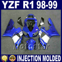 Wholesale 99 Yamaha R1 Plastics - Injection molding for YAMAHA 1998 1999 R1 fairing kit YZF-R1 blue white ABS Plastic body set 98 99 yzf r1 fairings P9M8 + 7 gifts
