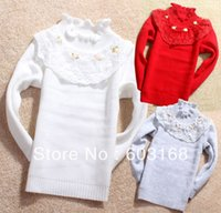 Wholesale Iso Kids Clothing - Wholesale-New Style Lace Flowers Girl's Sweater Kids Clothes Kids Sweater Babywear Free Shipping {iso-18-8-6-A4}