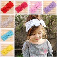 Wholesale Crocheted Headwraps - 2015 Kids Girls Crochet Lace Headwraps Baby girl Fashion Bow headbands Children's cute hairbands hair accessories