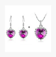 Wholesale Titanic Earrings Necklace - White Gold Plated Austrian Crystal The Occean Of Heart Titanic Heart Fashion Jewelry Sets Make With Swarovski Elements ks059s