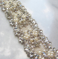 Wholesale Sparkling Rhinestone Sashes - Gorgeous Bridal Sashes Rhinestones Pearls Crystals Stitches Sparkling Wedding Belts Bridal Accessories Customized