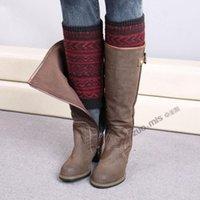 Wholesale Leg Shapes - 6 color women Crochet handmade L shaped leg warmer Bohemia Boot Cuff button down Ballet Leg Warmers Christmas Boot Socks covers