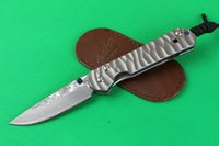 Wholesale Chris Reeves Knifes - Chris Reeve Damascus CR Dasha Classic 21 (corrugated titanium steel) folding Camping Hunting Pocket Knife Xmas gift knife 1pcs freeshipping
