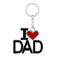 Wholesale Ring Models For Women - 4 Models Lette Red Heart I Love DAD MOM MAMA PAPA Keychain key Rings Fashion Jewelry for mother father Gift Drop Shipping