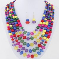 Wholesale Deep Blue Acrylic Beads - 2016 Bohemian Jewelry Sets Round African Beads Jewelry Set Multilayer Statement Necklace Earrings Set For Women Parure Bijoux Femme