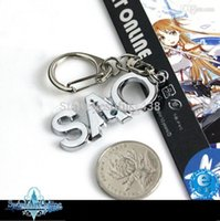 Yes Fashion ZYF195 Wholesale-Hot Sword Art Online SAO Keyrings SAO LOGO Japan Anime Pendant Keychains Keyring A Gift for Children
