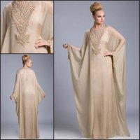 Wholesale Green Sexy Fancy Dress - Champagne Dubai Fancy Farasha Abaya Islamic Kaftan Long Chiffon Evening Dresses Beaded Crystals Arabic Prom Mother Dresses bo6372