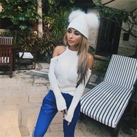 Wholesale Double Ball Wool Cap - 2018 Hot sale autumn winter knitted wool hats double ball fashion fur sleeve caps & hats
