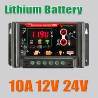 Wholesale 24v Li Ion Charger - 10A 12VDC 24VDC Li Li-ion lithium LiFePO4 batteries Solar Charge Controller , 10amps 12V 24V solar charger regulators