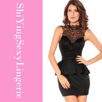 Wholesale Sexy Career Clothing - Sexy vestidos summer autumn career women clothing Hollow-out Back lace Peplum Dress Black Red Sleeveless Mini 2710 Free shipping