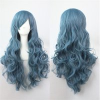 Wholesale Long Hairpieces For Women - Fashion heat resistant Synthetic curly Hair Full Lolita wig Hairpiece Cosplay Wigs for Women smoke blue long wig Rozen Maiden