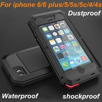 Wholesale Metal 4s Phone Cases - New Redpepper Waterproof phone Case for apple iPhone 5 5s 4 4s 5c 6 6 plus Silicone metal waterproof shockproof cell phone cases