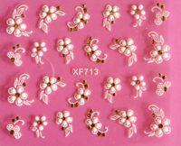 beyaz malzeme çiçekleri toptan satış-En iyi DIY Tırnak Güzellik Malzemeleri 3D Beyaz Çiçek Nail Sticker sanat süslemeleri manikür adesivo de unha unhas tırnak araçları JIA034
