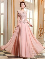 Wholesale A line Chiffon Lace Pearl Floor length Georgette Evening Dress Lace UpApplique Evening Formal Ball Gowns Plus Size