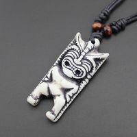 Wholesale New Zealand Bone Necklaces - New Zealand Tiki statue Necklace Pendant pendant Tiki antique trade bone carving imitation bone pendant jewelry wholesale