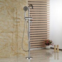 Wholesale Brass Type Holder - Wholesale And Retail Chrome Brass Free Standing Bathroom Faucet Tub Mixer Tap + Hand Shower Tub Filler