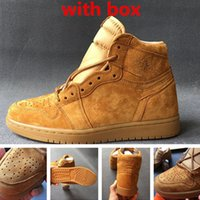 Wholesale Wheat Free - Retro 1 og wheat mens basketball shoes with originals box top quality size eur 40-46 free shipping by ems