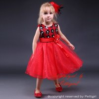 Wholesale Wholesale Red Dress Pageants Girls - Pettigirl 2016 New Red Girls Christmas Dress Shiny Flower With Bow Girls Pageant Dresses Factory Price Kids Clothes Free Shipping GD80905-16