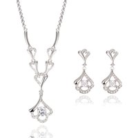 Wholesale Platinum White Zircons - europe bride jewelry accessory diamond pendant necklace earrings set fashion elegant zircons jewelry set women girl 10pcs free shipping