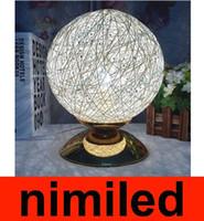 Wholesale pastoral table lamps resale online - nimi570 Modern Minimalist Pastoral Sphere Small Ball Light Table Twine Takraw Desk Light For Bedroom Bedside Lamp Restaurant Bar Hotel