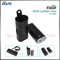 Wholesale E Cig Lighted Batteries - Original iSmoka Eleaf iStick 30W Leather Cases Ultra Thin Light e Cig Battery Carry Leather Pouch Bags For iStick 30W With eGo Lanyard Ring