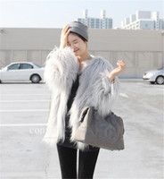 Wholesale New Womens Faux Fur Long Hair Warm Coat Ladies Winter Outwear Jacket Faux Fox Fur Body Slim O neck Topwear WT92