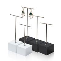 Wholesale Metal Hanger Stand - Wood Jewelry Earring Display Stand Black White with Metal T Bar Piercing Stud Long Big Earrings Hanger Jewellery Exhibition Shelf Holder