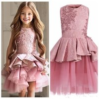 Wholesale Cute Line Skirts - 2018 Cute Pink Pageant Dresses Jewel Neck Sleeveless Lace Short Tiered Ruffles Flower Dresses Girls Tulle Skirt