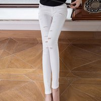 Wholesale White Cut Out Jeans - Wholesale-Hot Fashion Ladies Cotton Denim Ripped Hole Punk Cut-out Women Sexy Skinny Pants Jeans Leggings Trousers White Jeans