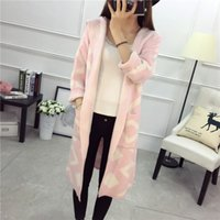 Wholesale-2017 New Fashion Hot Cardigans Frauen Herbst Winter Lange Strickjacke Weiblichen Mantel Lässig Schwarz Rosa Lose Mit Kapuze c903