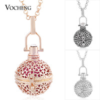 Wholesale Brass Chimes - VOCHENG Chime Harmony Cage Necklace 3 Colors Plating Angel Ball Pendant Jewelry with Stainless Steel Chain VA-211
