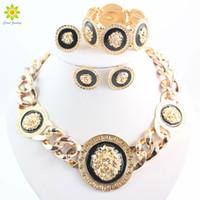 Wholesale lion earrings necklace sets - Fashion Vintage Jewelry Sets Lion Head Round Pendant Necklace Bracelet Earrings Ring 4Pcs  Set For Women