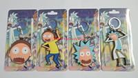 ingrosso bambole di gomma libere-2017 nuovo nuovo 4 pz / set Cartoon Anime Rick e Morty telefono Keychain bambola in gomma morbida figura giocattolo modello 6-8 cm spedizione gratuita