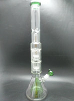 Wholesale Large Glass Beaker - 21.7 inch Monster large size glass water pipes glass bongs with double layer honeycomb perc and double beaker perc 18.8mm joint
