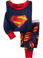 Wholesale Superman Outfit For Kids - Suit For Casual Kids Long Sleeve Round Collar Boys Pajamas Superman Cartoon Children Outfits Fit 2-7Age K903