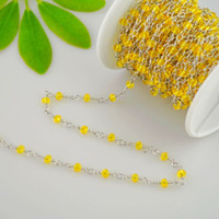 Wholesale Yellow Rosaries Wholesale - Charm Chain! 4MM Yellow Color Faceted Crystal Beads Wire Wrapped Beaded Rosary Chains Jewelry Finding 5Meter=16.4Feet