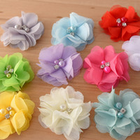 Wholesale Elastic Bows For Gifts - 54pcs baby girls Chiffon Ruffles Pearl flower Shower Gift For Skinny Elastic Headband infant hair flower Shoe flower accessory
