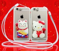 Wholesale Noctilucent Fish - 50pcs 3D Cartoon Hello Kitty Lucky Cat Fish Flash Case For iPhone 6 6s Plus Noctilucent Case With Stretch Stand Hanging Lanyard