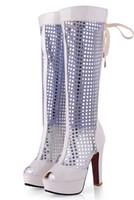 neue frauen gestalten schuhe großhandel-Neue Ankunft Frauen Pailletten Hochzeit Schuhe High Heels Gaze Peep Toe-Form Sandale Band Sommer Boot Größe US 4-8
