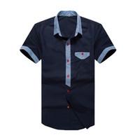 Wholesale Mens V Neck Striped Collar - Wholesale-2016 Classic Men Striped Dress Shirt Brand Clothing Short Sleeve Turn-down Collar Regular-Fit Mens Shirts Designer Clothes