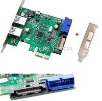Wholesale E Sata Connector - Wholesale-PCI-E USB 3.0 2 Port 20 pin Connector 15-pin SATA Power w  Low Profile Bracket