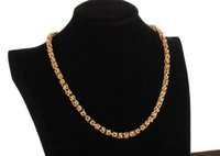 Wholesale Mens Figaro Chain Bracelet - Heavy Men 24k Yellow gold filled Necklace Bracelet Set GF Curb chain free mens jewerly sets (Necklace + Bracelet) new arrival Xmas gifts