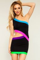 Wholesale Cheap Neon Dress - Cheap 2015 Women Trendy Color Block Ladies One Shoulder Black patchwork Cut Out Sexy Club MIni Dress with Neon Trims 21365