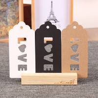 "Wholesale Birthday Wedding Wishes - 4.7*10cm (1.9*3.9"") Kraft Paper Label Wedding Party Gift Greetings Card Swing Tags Scalloped Head Label With LOVE Hollow Out Price Hang Tag"