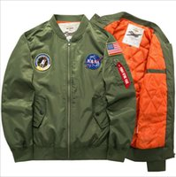 Wholesale v neck windbreaker - NASA Mens MA1 Bomber Jacket Insignia USAF Kanye West Hip Hop Sport Male Windbreaker Jacket Flag Mens Spring Thin section Jacket M-6XL