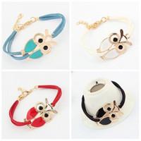 Wholesale Owl Charms Enamel - Hot sell ! 30Pcs Fashion Enamel owl Korea velvet bracelet 20CM