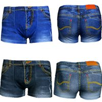 Wholesale Boxer Man Funny - Wholesale-2015 Sexy Funny Mens Shorts Print Boxers Men Underwear Male Panties Cotton Boxers Comfortable Breathable Cuecas jeans