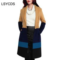 Frauen Elegante Warme Farbblock Winter Schlank Umlegekragen Patchwork Tragen zu Business Casual Lange Wollmantel